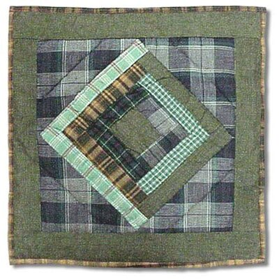Log Cabin Cotton Throw Pillow