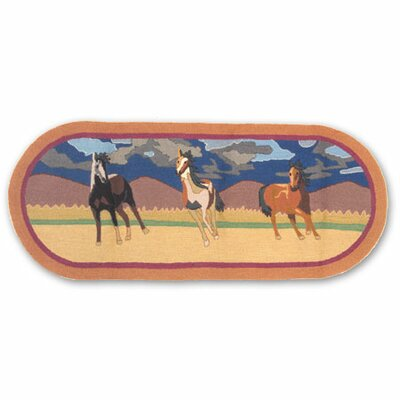 Wild Horses Beige/Brown Three Horses Indoor/Outdoor Area Rug Rug Size: Runner 26 x 6