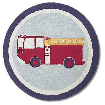 Fire Truck Blue/Red Area Rug Rug Size: Round 3