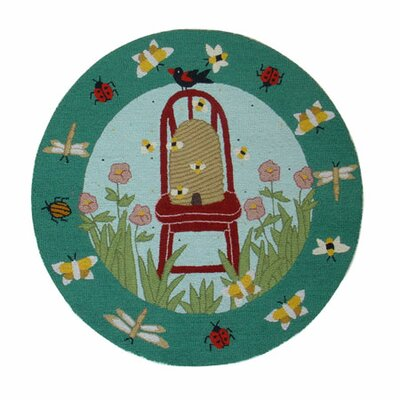Garden Friends Green Area Rug Rug Size: Round 3