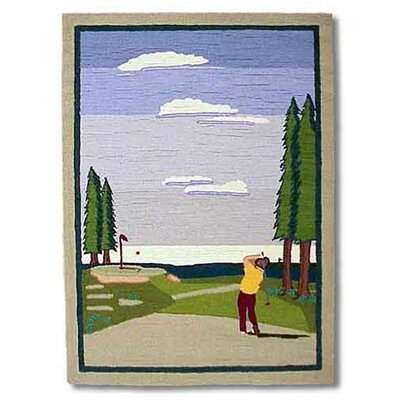 Golf Blue Area Rug Rug Size: Round 310 x 51