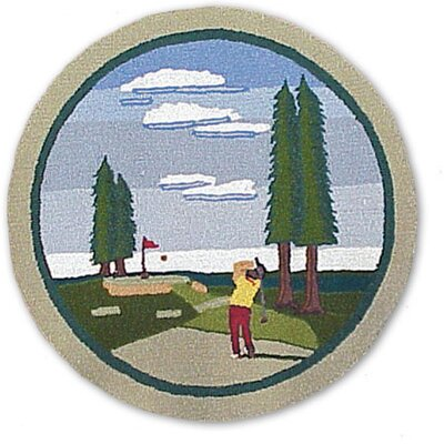 Golf Blue Area Rug Rug Size: Round 3
