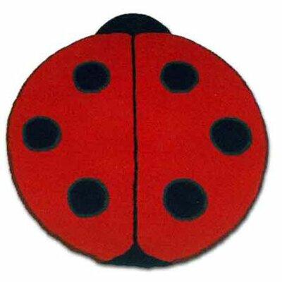 Ladybug Red/Black Area Rug Rug Size: Round 3