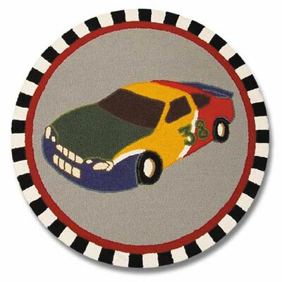 Racecar Grey/Yellow Indoor/Outdoor Area Rug Rug Size: Round 3