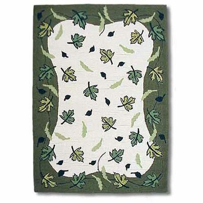 Spring Leaves Ivory/Green Area Rug Rug Size: 310 x 51