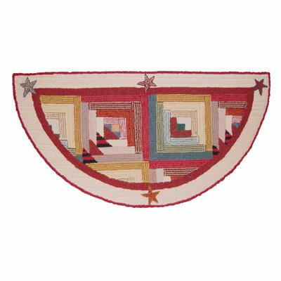 Woodland Star and Geese Fire Place Red Area Rug Rug Size: Half Circle 16 x 3