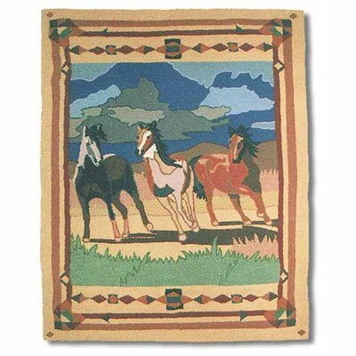 Wild Horses Beige/Brown Three Horses Area Rug Rug Size: 310 x 51