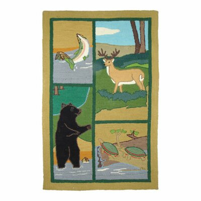 Wilderness Green/Yellow Area Rug Rug Size: 29 x 44