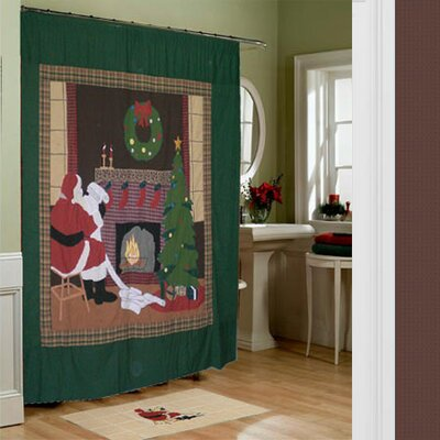 Santa by the Fireside Cotton Shower Curtain