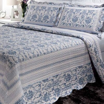 Wisteria Lattice 3 Piece Reversible Quilt Set Size: Queen