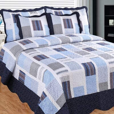 Miles and Miles 3 Piece Reversible Quilt Set Size: California King