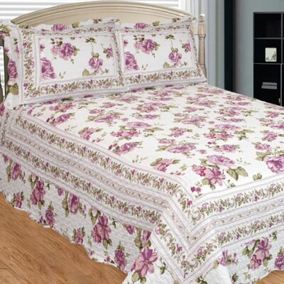 Peony Bloom 3 Piece Reversible Quilt Set Size: Queen