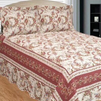 Old Rose Corona 3 Piece Reversible Quilt Set Size: Queen