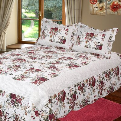 Bella Rosa 3 Piece Reversible Quilt Set Size: Queen