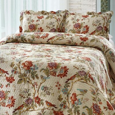 Finch Orchard 3 Piece Reversible Quilt Set Size: King