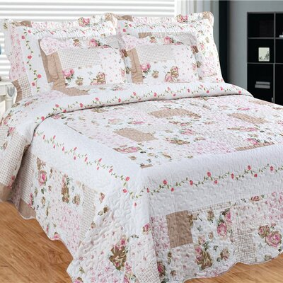 Camellia Main 3 Piece Reversible Quilt Set Size: King