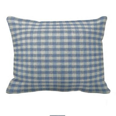 Blue and Ecru Gingham Checks Pillow Sham