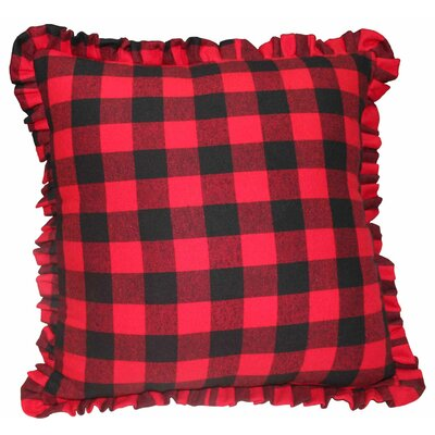 Twill Ruffled Buffalo Check Cotton Throw Pillow