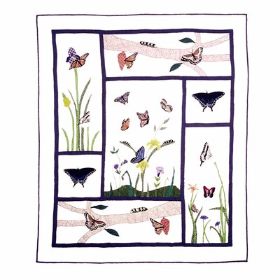 Butterfly Kisses Cotton Throw Quilt