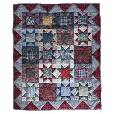 Denim Burst Cotton Throw Quilt