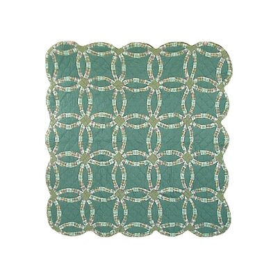 Green Double Wedding Ring Cotton Throw Quilt