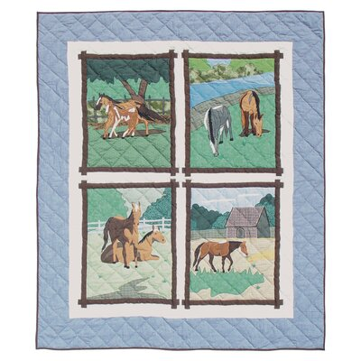 Horse Friends Cotton Throw Quilt
