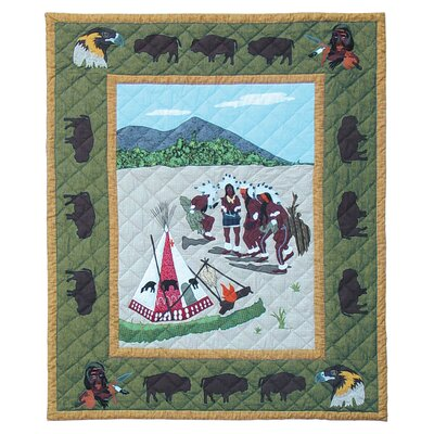 Indian Dancers Cotton Throw Quilt