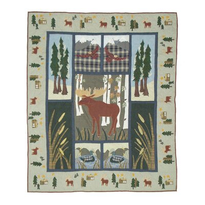 Moose Cotton Throw Quilt