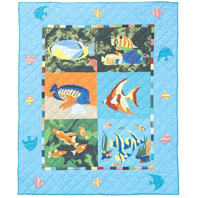 Ocean Schools Cotton Throw Quilt