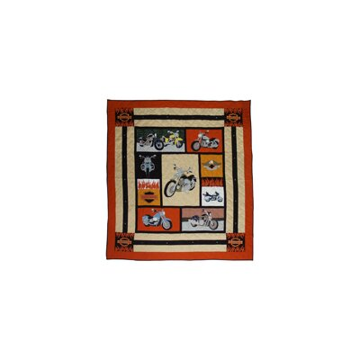 Hand Quilted Cotton Applique Motor Cycle King Quilt