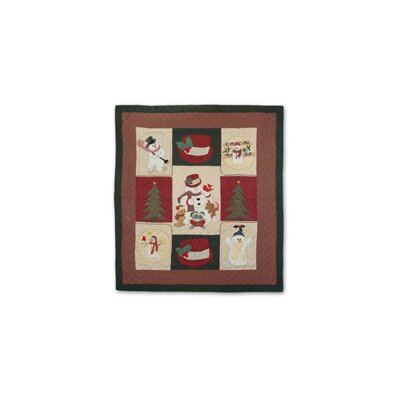 Hand Quilted Cotton Applique Jolly Snowmen Quilt