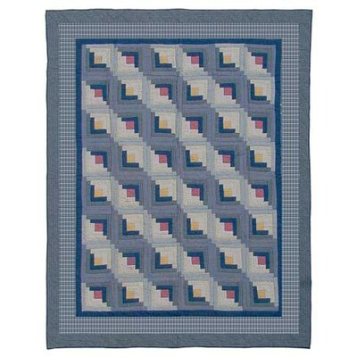 Log Cabin Cotton Twin Quilt