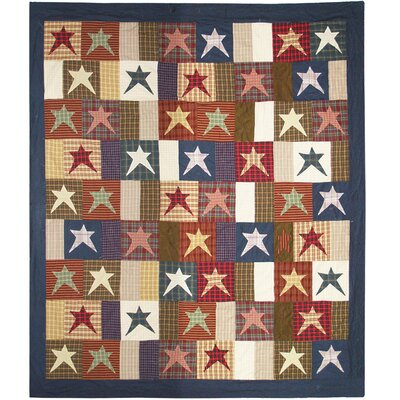 Hand Quilted Cotton Patchwork Homespun Stars King Quilt