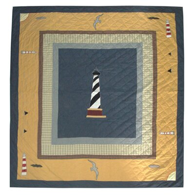 Hand Quilted Cotton Light House Trail King Quilt