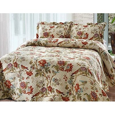 Finch Orchard 4 Piece Reversible Quilt Set Size: Super Queen