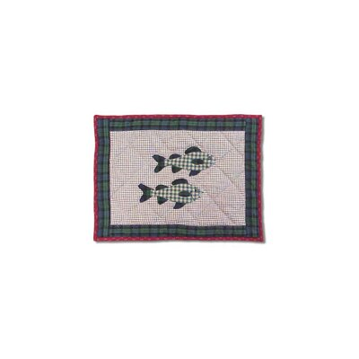 Hand Quilted Applique Cabin Fish Cotton Boudoir Pillow