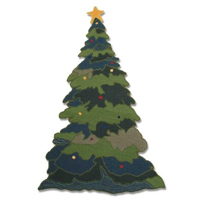 Santa By The Fireside Green Area Rug Rug Size: Novelty 21 x 24