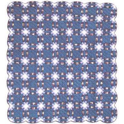 Blue Double Wedding Ring Duvet Cover