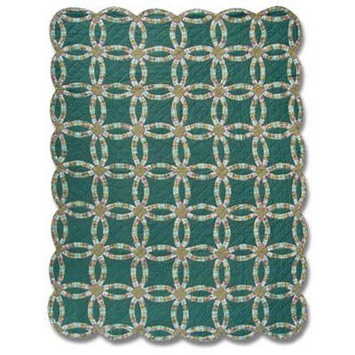 Green Double Wedding Ring Quilt Size: King