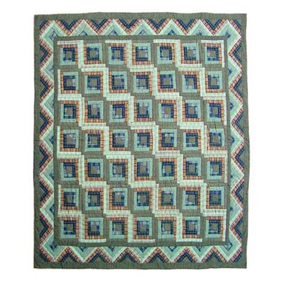 Green Log Cabin Quilt Size: King