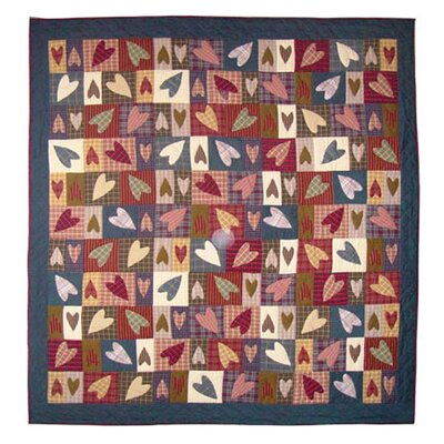 Primitive Hearts Quilt Size: King