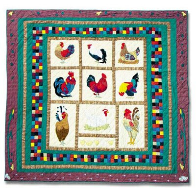 Rooster Quilt Size: King