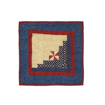 Midnight Log Cabin Cotton Throw Pillow