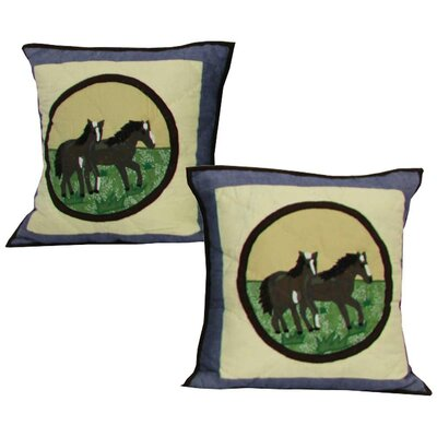 Horse Friends Cotton Throw Pillow