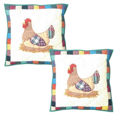 Rooster Hen Cotton Throw Pillow
