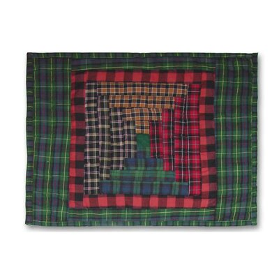 Tartan Log Cabin Cotton Boudoir/Breakfast Pillow Cover