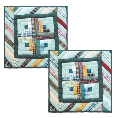 Diamond Log Cabin Cotton Throw Pillow