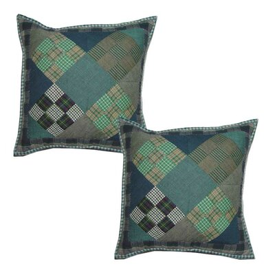 Chambray 9 Patch Cotton Throw Pillow