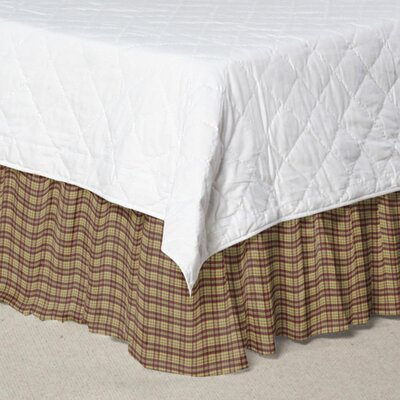 Plaid Cotton Bed Skirt Size: King, Color: Tan and Red
