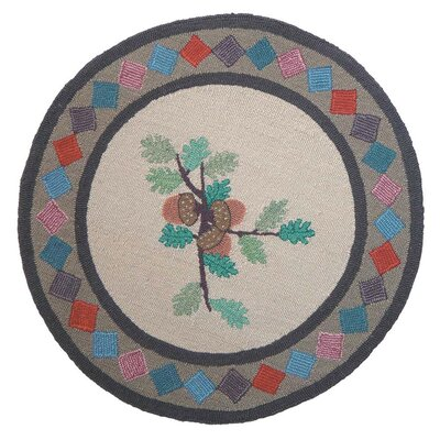 Acres of Acorns Area Rug Rug Size: Round 3
